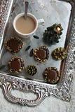 Chocolate thumbprint cookies Royalty Free Stock Photo