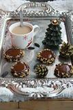 Chocolate thumbprint cookies Stock Photography