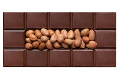 Chocolate tiles, filled with peanuts Stock Photo