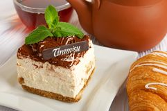 Chocolate tiramisu cake Royalty Free Stock Images