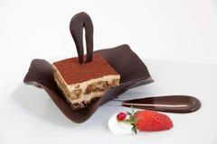Chocolate tiramisu cake with decoration Royalty Free Stock Image