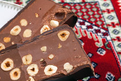 Chocolate Torrone Candy Block Stock Photo