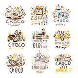 Chocolate Traditions Colorful Graphic Design Template Logo Series,Hand Drawn Vector Stencils Royalty Free Stock Photo
