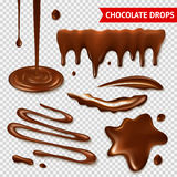 Chocolate transparent set. Realistic hot chocolate splashes on transparent background  vector illustration Stock Photography