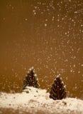 Chocolate trees with sugar snow stock photo