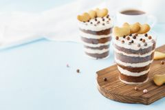 Chocolate trifle. Layered dessert with cookie hearts. stock photos
