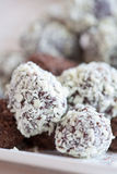 Chocolate truffels. Delicious home made truffels with dark and white chocolate Royalty Free Stock Images
