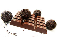 Chocolate and a truffle Royalty Free Stock Images