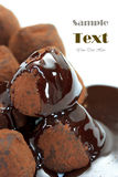 Chocolate Truffle. Covered with chocolate syrup stock photo