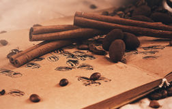 Chocolate truffle and cinnamon sticks Royalty Free Stock Images