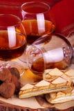 Chocolate truffle and cognac Royalty Free Stock Photos