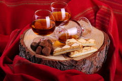 Chocolate truffle and cognac Royalty Free Stock Image