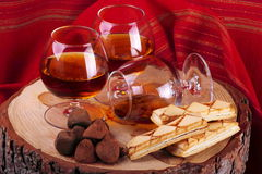 Chocolate truffle and cognac Royalty Free Stock Images