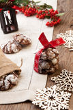 Chocolate - Truffle Cookies for Christmas Stock Photos