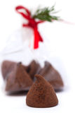 Chocolate truffle gift for the new year Royalty Free Stock Image