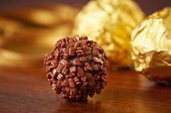 Chocolate truffle macro Royalty Free Stock Photo