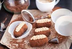 Chocolate truffle rum balls cakes Stock Photography