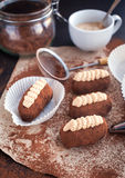Chocolate truffle rum balls cakes Royalty Free Stock Photo