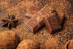 Chocolate truffle,Truffle chocolate candies with cocoa powder.Ho Stock Photo