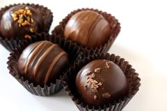 Chocolate Truffles. A variety of milk and dark chocolate truffles Stock Image
