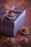 Chocolate truffles. In gift box, selective focus Royalty Free Stock Images
