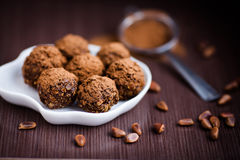 Chocolate truffles. With cacao powder Royalty Free Stock Photography