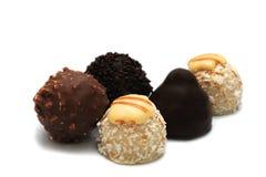 Chocolate truffles. Isolated on white background Royalty Free Stock Photo