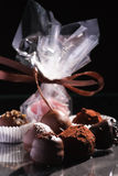 Chocolate truffles. On the table Stock Photo