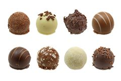 Chocolate truffles assortment. Isolated on white background stock images