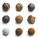 Chocolate truffles assortment isolated on white Stock Images