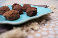 Chocolate Truffles on Blue Plate. royalty free stock photography