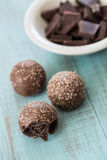 Chocolate Truffles with Broken Bits of Chocolate Stock Image