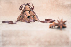Chocolate truffles candies on a background of burlap bag texture Stock Photos
