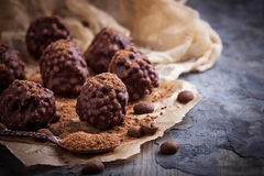 Chocolate truffles candy. Selective focus Stock Images