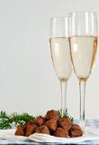 Chocolate truffles and champagne Royalty Free Stock Image