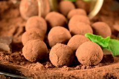 Chocolate truffles. Covered with cacao powder on a black plate royalty free stock photo