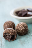 Chocolate Truffles Close Up with Chocolate Pieces Royalty Free Stock Images
