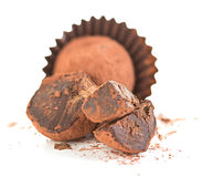 Chocolate truffles close-up isolated Stock Images