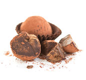 Chocolate truffles close-up isolated Royalty Free Stock Photos