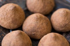Chocolate truffles with cocoa Royalty Free Stock Image