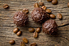 Chocolate truffles with cocoa beans Stock Photos