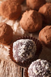 Chocolate truffles in cocoa and nuts macro on a table. Vertical Stock Photography