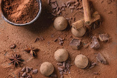 Chocolate truffles with cocoa powder Royalty Free Stock Images