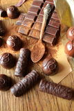 Chocolate, truffles,cocoa powder stock photos