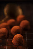 Chocolate truffles cocoa powder dusted. And sieve, shallow dof Stock Photos