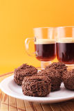 Chocolate truffles and coffe Royalty Free Stock Images