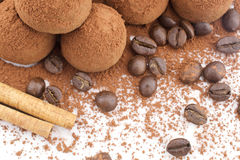 Chocolate Truffles with coffee beans. Chocolate Truffles coated cocoa powder on white background Royalty Free Stock Image
