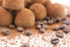 Chocolate Truffles with coffee beans. Chocolate Truffles coated cocoa powder on white background Stock Image