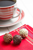 Chocolate truffles with coffee Stock Images