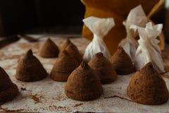 Chocolate truffles on cooking sheet closeup Stock Photography